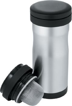 Thermos Nissan 12-Ounce Stainless-Steel Tea Tumbler with Infuser: Unbreakable 18/8 stainless steel interior and exterior withstand the demands of everyday use. Leak-proof travel cover seals closed for carefree portability.