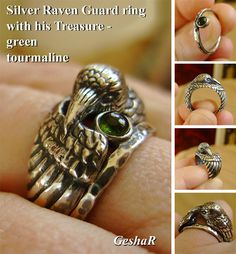Silver Raven Ring with Green Tourmaline Companion - Sculpted Double Ring in Sterling Silver with Patina - Black Raven