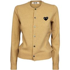 Comme Des Garcons Play Ladies  Logo Cardigan Light ($340) ❤ liked on Polyvore featuring tops, cardigans, wool cardigan, logo tops, play comme des garcons cardigan, evening wear tops and embroidered top