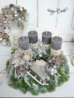 New York loft of artist and sculptor Michele Oka Doner. Rose Gold Christmas Decorations, Christmas Advent Wreath, Christmas Arrangements, Christmas Candles, Christmas Centerpieces, Christmas Love, Rustic Christmas, Xmas Decorations, Winter Christmas