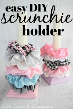 Make this EASY DIY scrunchie holder. Such a great way to display all your scrunchies. You only need a few supplies and a few minutes to make this! scrunchie with bow no sew DIY Scrunchie Holder