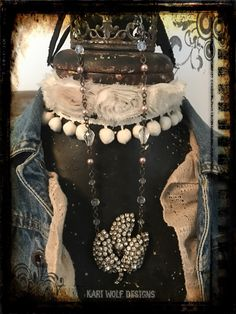 Created By Kari Wolf Designs  A personal favorite from my Etsy shop https://www.etsy.com/listing/493523834/flower-rhinestone-leafy-necklace-vintage