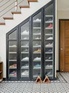 7 Amazing Shoe Storage Ideas From Real Homes is part of Storage furniture bedroom - Whether you're into sneaks or stilettos, there's a storage solution for every shoe collection Shoe Storage Furniture, Closet Shoe Storage, Stair Storage, Diy Storage, Wall Storage, Wardrobe Storage, Diy Organization, Diy Shelving, Storage Design