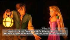 """Now knowing that Rapunzel was the only blonde one in the kingdom, it gives the nickname ""Blondie"" much more significance."" - Very true. Funny Disney Memes, Disney Jokes, Disney Facts, Disney Cartoons, Disney Rapunzel, Rapunzel Funny, Princess Disney, Disney Princesses, Disney Characters"