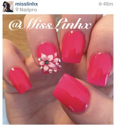 Pink nails with 3D flower art
