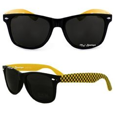 Black & Yellow Checker Two Tone Wayfarer Sunglasses Dark Lens 80s Retro . $4.97. Save 80% Off!