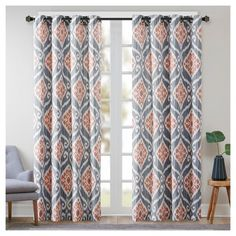 "Catori Printed Ikat Window Curtain Panel Coral (Pink) (50""x84"")"