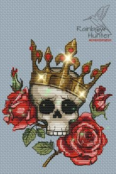 Cross Stitch Skull, Cross Stitch Rose, Cross Stitching, Cross Stitch Embroidery, Victorian Cross Stitch, Skulls And Roses, Diy And Crafts Sewing, Modern Cross Stitch Patterns, Colorful Drawings