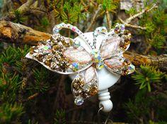 Rhinestone Butterfly Badge Reel  by BadgeAlleybyGerAnne on Etsy