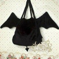 [L P] lolita Lolita Princess the devil backpack black plush Japanese demon wings shoulder bag - Taobao Punk Fashion, Lolita Fashion, Gothic Fashion, Diy Backpack, Black Backpack, Sewing Crafts, Sewing Projects, Kei Visual, Cute Bags