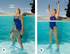 Burn calories and build strength this summer with this circuit-style pool workout that combines plyometrics and cardio to give you an amazing water workout. Water Aerobics Workout, Water Aerobic Exercises, Swimming Pool Exercises, Pool Workout, Water Workouts, Leg Workouts, Boxing Workout, Cardio Training, Strength Training