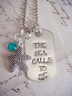 The Sea Calls to Me - Handstamped Recycled Stainless Steel Mini Dog Tag w/ Charm & Swarovski Crystal