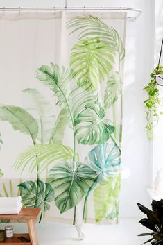 Watercolor Tropical Shower Curtain | Urban Outfitters