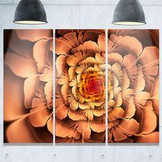 Dense Fractal Petals - Floral Abstract Glossy Metal Wall Art - 36Wx28H