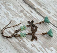 Dragonfly Earrings // Vintaj brass dragonfly dangle earrings // Woodland Jewelry // Rustic on Etsy, $17.00