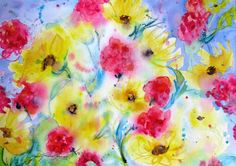 Daily Painters Abstract Gallery: Wildflower Morning Original abstract watercolor painting by Janice Trane Jones