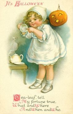 A charmingly sweet vintage Halloween tea leaf reading themed card. #vintage #postcards #cars #Halloween