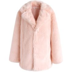 Chicwish Pink Marshmallow Faux Fur Coat (€61) ❤ liked on Polyvore featuring outerwear, coats, pink, faux fur coat, pink fake fur coat, pink coat, fake fur coat and pink faux fur coats