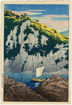 木曽川 蓬莱岩 きそがわ ほうらいいわ Horai rock in the Kiso River. 川瀬巴水 かわせはすい Kawase Hasui. 旅みやげ第三集 From series Souvenirs of Travel III.
