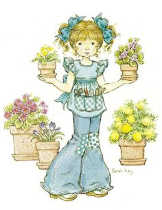 I have potted plants to sell. Sara Kay, Sweet Pic, Lovely Creatures, Holly Hobbie, Illustration, Vintage Cards, Cute Kids, Cute Pictures, Coloring Pages