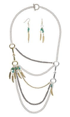 "Jewelry Design - Multi-Strand Necklace and Earring Set with Gold-Plated Brass Charms, Gold- and Silver-Finished ""Pewter"" Focals and Turquoise Gemstone Beads - Fire Mountain Gems and Beads"