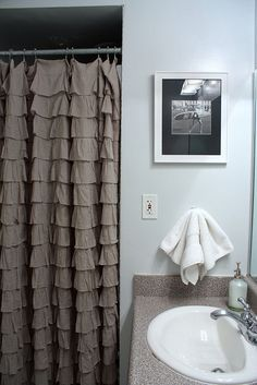 ruffled shower curtain burlap