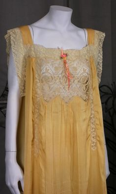 1920'S Lace Insert Silk Gown | From a collection of rare vintage lingerie at https://www.1stdibs.com/fashion/clothing/lingerie/