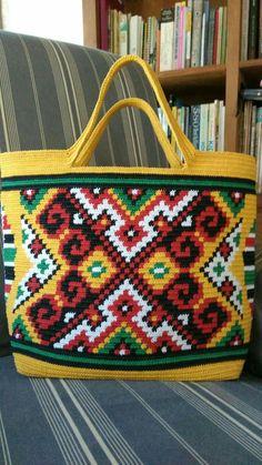 tapestry crochet bag w/ waxed cotton cord 1 mm Mochila Crochet, Bag Crochet, Crochet Shoes, Crochet Handbags, Crochet Purses, Crochet Mittens Free Pattern, Tapestry Crochet Patterns, Crochet Motifs, Tapestry Bag