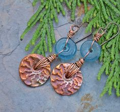https://flic.kr/p/brwcXe | Copper Ammonite Recycled Glass | earrings-everyday.blogspot.com/