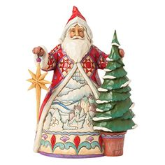 Jim Shore Heartwood Creek Christmas Magic All Around Winter Scene Santa with Pine Tree Figurine