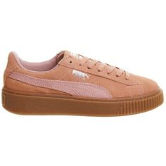 Suedette Platform Trainers by Puma (£80) ❤ liked on Polyvore featuring shoes, sneakers, orange, puma footwear, puma sneakers, orange platform shoes, platform trainers and orange shoes