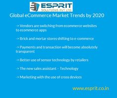 Prediction of e-commerce market trends by 2020 and learn the importance of rising demand of e-commerce application http://www.esprit.co.in/services/e-commerce-application/