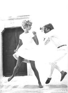 Richard Avedon Photographer Jeanloup Sieff Working with Jean Shrimpton, Mykonos, Greece 1967