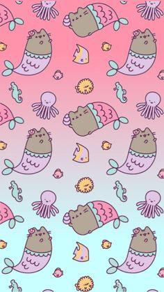 We are Pusheen Mermaids Unicornios Wallpaper, Trendy Wallpaper, Kawaii Wallpaper, Pattern Wallpaper, Cute Wallpaper Backgrounds, Wallpaper Iphone Cute, Pretty Wallpapers, Cute Cartoon Wallpapers, Chat Kawaii