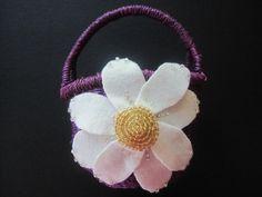 Flower Girl Basket Bridal Purple Ivory Gold daisy flower choose your colors #flowergirlbasket by ArtisanFeltStudio, $25.00