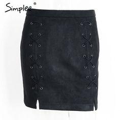 Simplee Autumn lace up leather suede pencil skirt Winter 2016 cross high waist skirt Zipper split bodycon short skirts womens