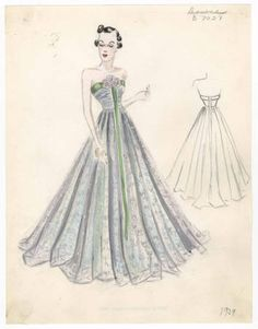 Bergdorf Goodman sketches: Downs 1934-1939. 1929-1952. The Metropolitan Museum of Art, New York. Costume Institute (b17508952) | Bergdorf Goodman Fashion Sketches: Gowns 1934-1939 @Bergdorf Goodman #bergdorfgoodman #fashion