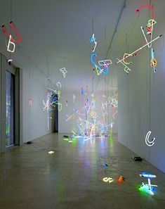 'Arise' by Anselm Reyle (2010, installation of neon, chains, cable and transformers)