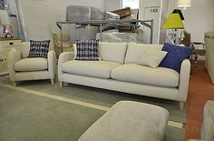 Newton Large 4 Seater Sofa + Armchair Suite Biscuit Fabric Scandinavian Style