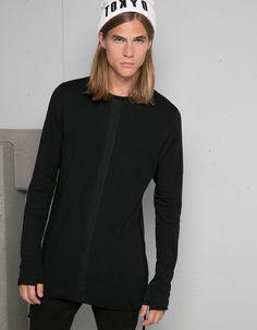 Camiseta manga larga tiras laterales - Camisetas - Bershka España
