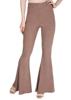 Ribbed Wide Leg Pants in Taupe | Necessary Clothing
