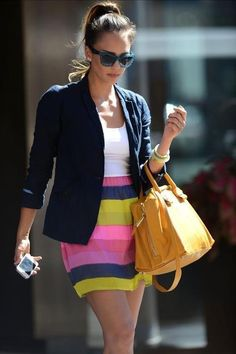 Jessica Alba in a Marc Jacobs striped skirt, totally fab!