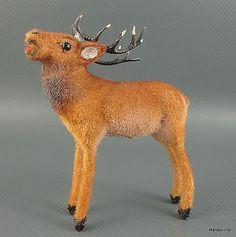 Wagner-Elk-Wool-Flocked-Wapiti-Cariboo-1960s-Kunstlerschutz-Antlers-Putz-3-Vtg