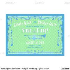 Roaring 20s Twenties Trumpet Wedding Save the Date 5x7 Paper Invitation Card