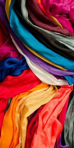Fantastic, fun colors can be worn in pairs or alone. Woven in Kashmir on small, family owned power l India, Silk, Inspired, Inspiration, Color, Biblical Inspiration, Goa India, Colour, Silk Sarees