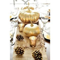Decorating for Fall Parties with Pink and Gold Pumpkins Brenda's... ❤ liked on Polyvore featuring autumn, backgrounds, photo and pictures