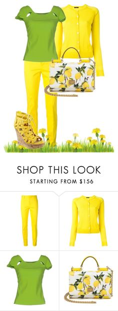"""Green T shirt!"" by mariana-vergara ❤ liked on Polyvore featuring Dsquared2, Roberto Collina, La Petite Robe di Chiara Boni, Dolce&Gabbana, GREEN, Tshirt, yellow and yellowsandals"