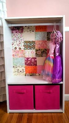 Bookshelf Turned Closet:  This idea takes a bookshelf with a simple tension rod to create a pint sized closet for dress up clothes.
