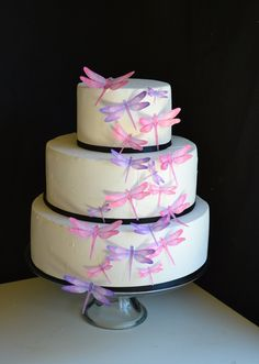 Edible Dragonflies - Assorted Pink and Purple - Cake and Cupcake toppers - set of 30 precut. $24.95, via Etsy.