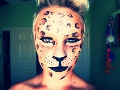 Pinned because of this comment => Leopard Beauty- If this chick could do it they should've been able to do it on the Hunger Games! Cheetah Makeup, Fox Makeup, Hair Makeup, Leopard Halloween, Theatre Makeup, Crazy Makeup, Fantasy Makeup, Costume Makeup, Latest Fashion For Women